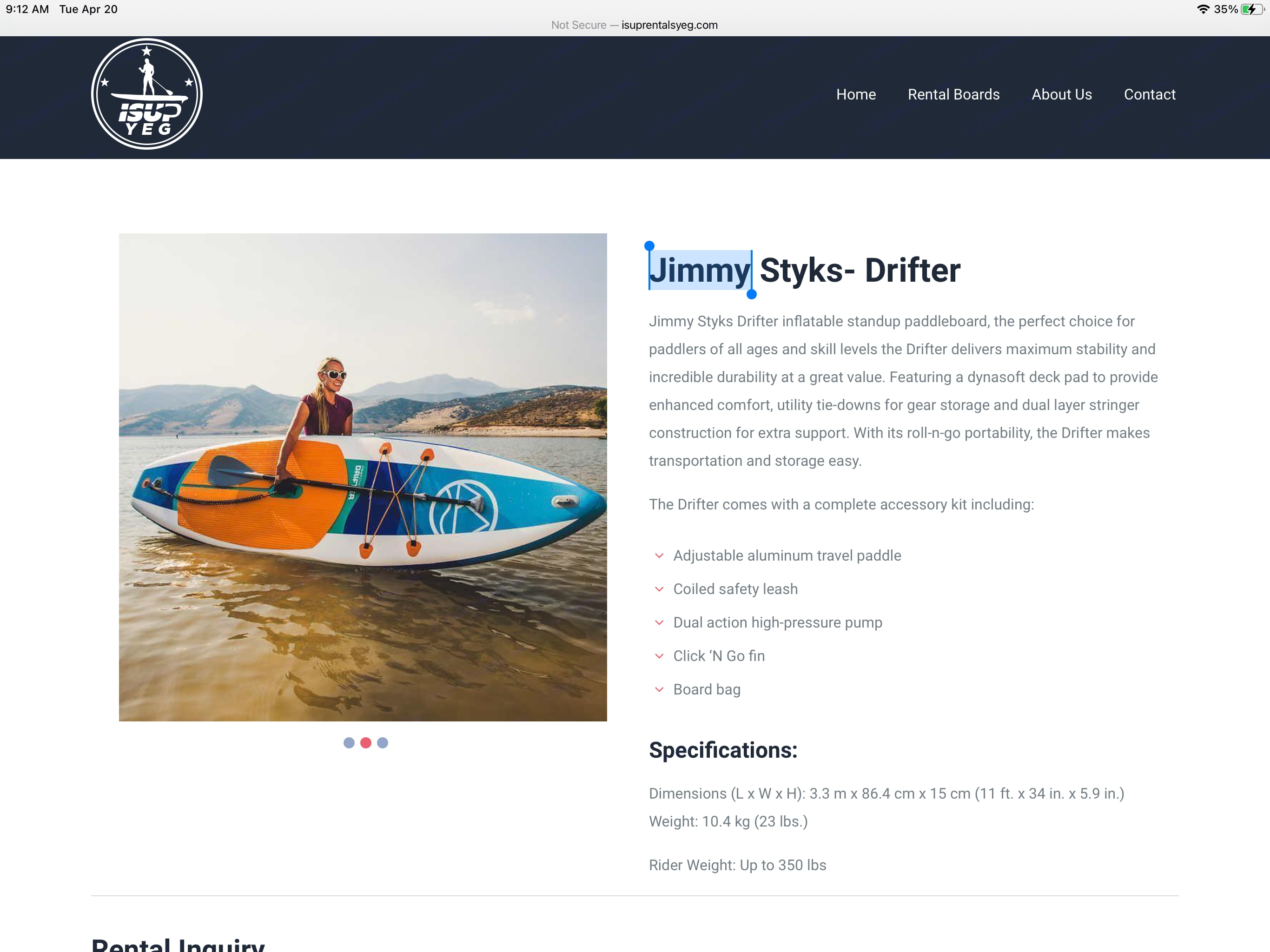 Inflatable Paddle Board- Jimmy Stykes 2021