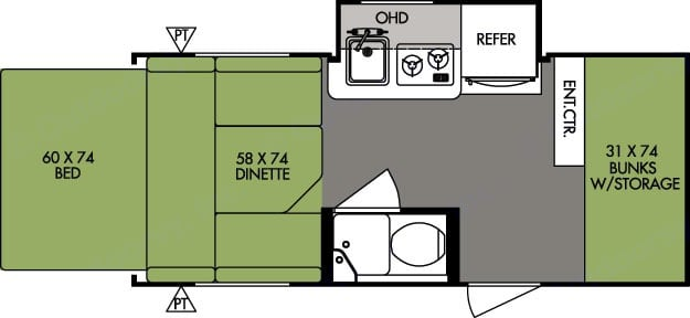 Floorplan illustrate living space after fold-out bed and kitchen slide-out have been deployed.. Forest River R-Pod 2014