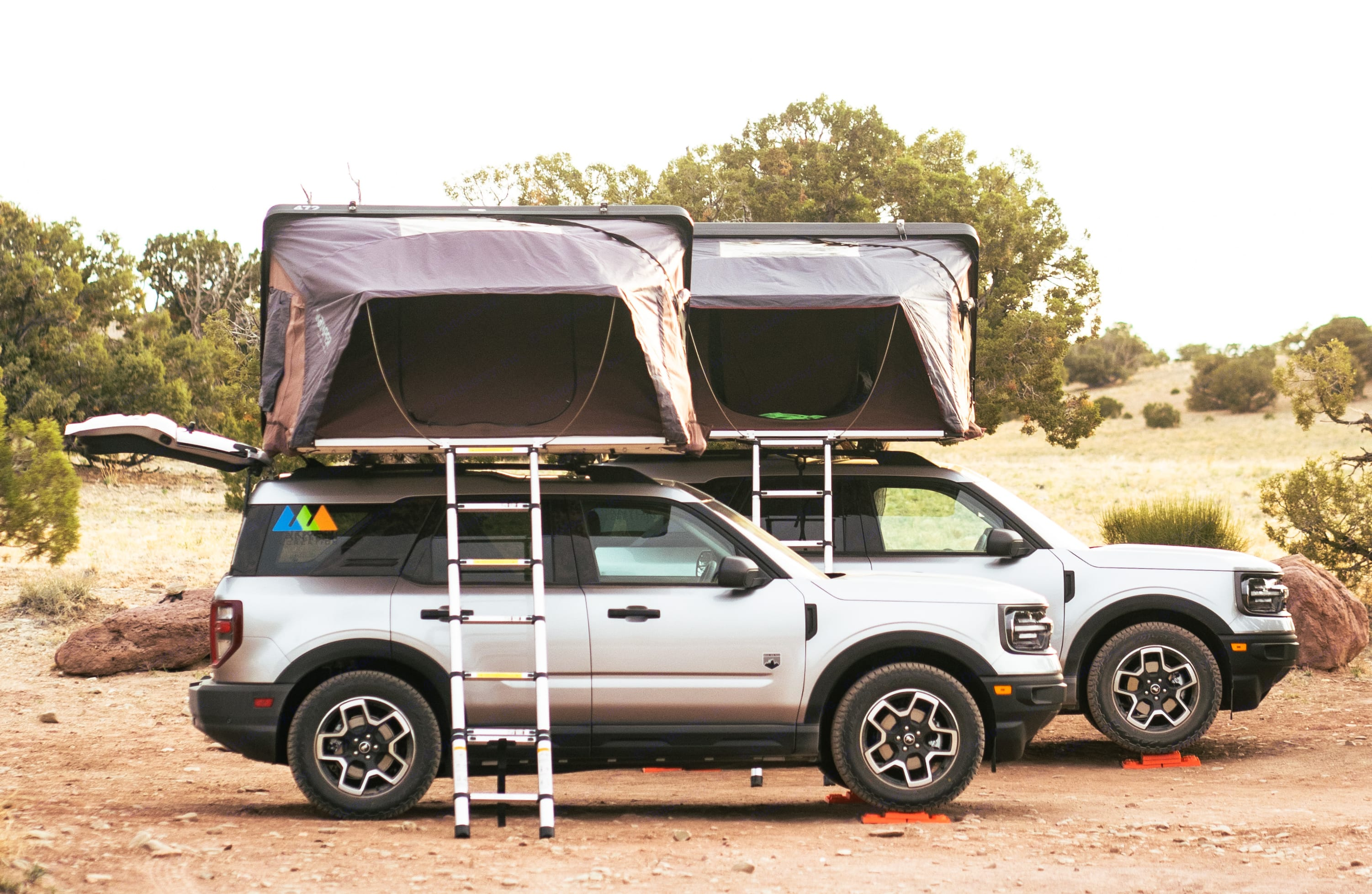 Brand new Ford Broncos with iKamper SkyCamp rooftop tents and camping equipment.. Ford Bronco Sport 2021