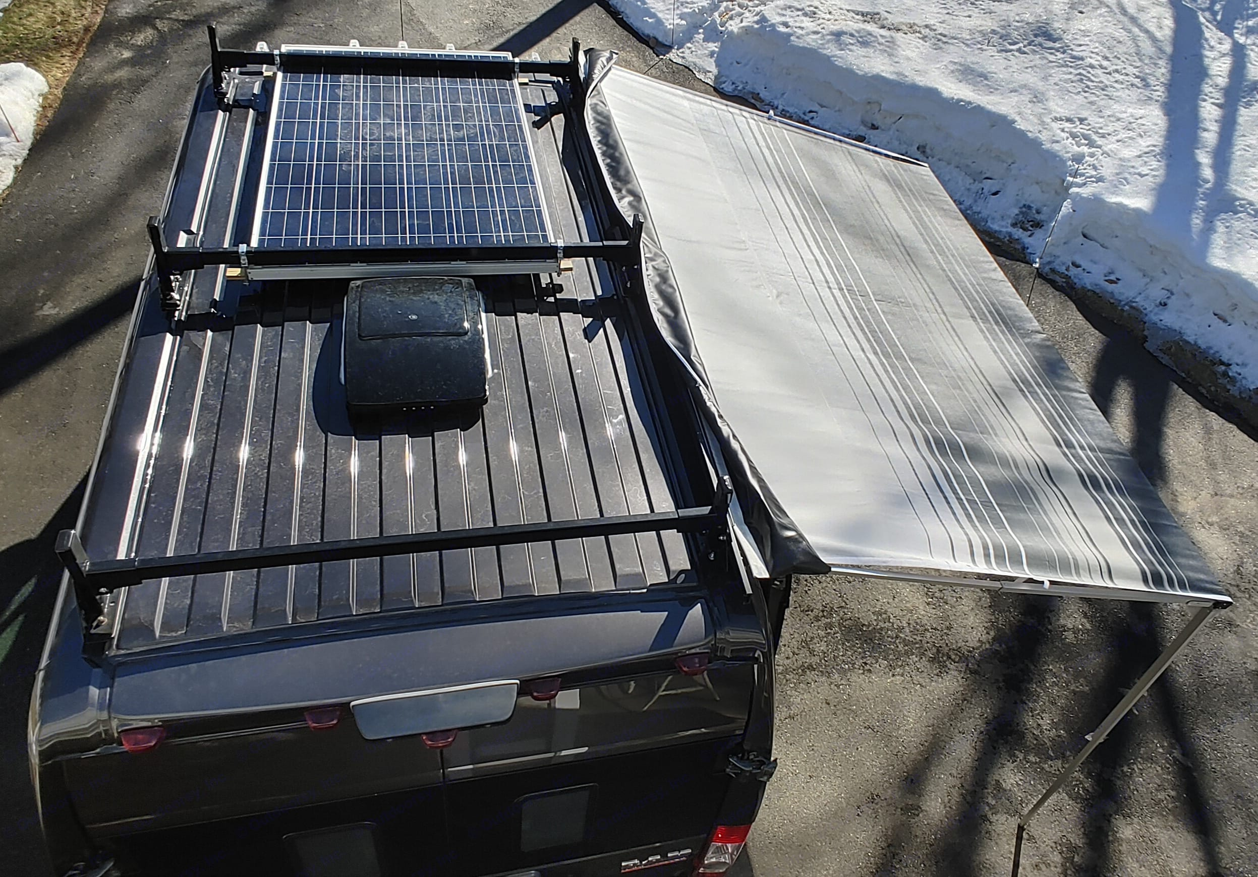 250w solar panel, awning and vent fan. Dodge Ram ProMaster 2500 2015