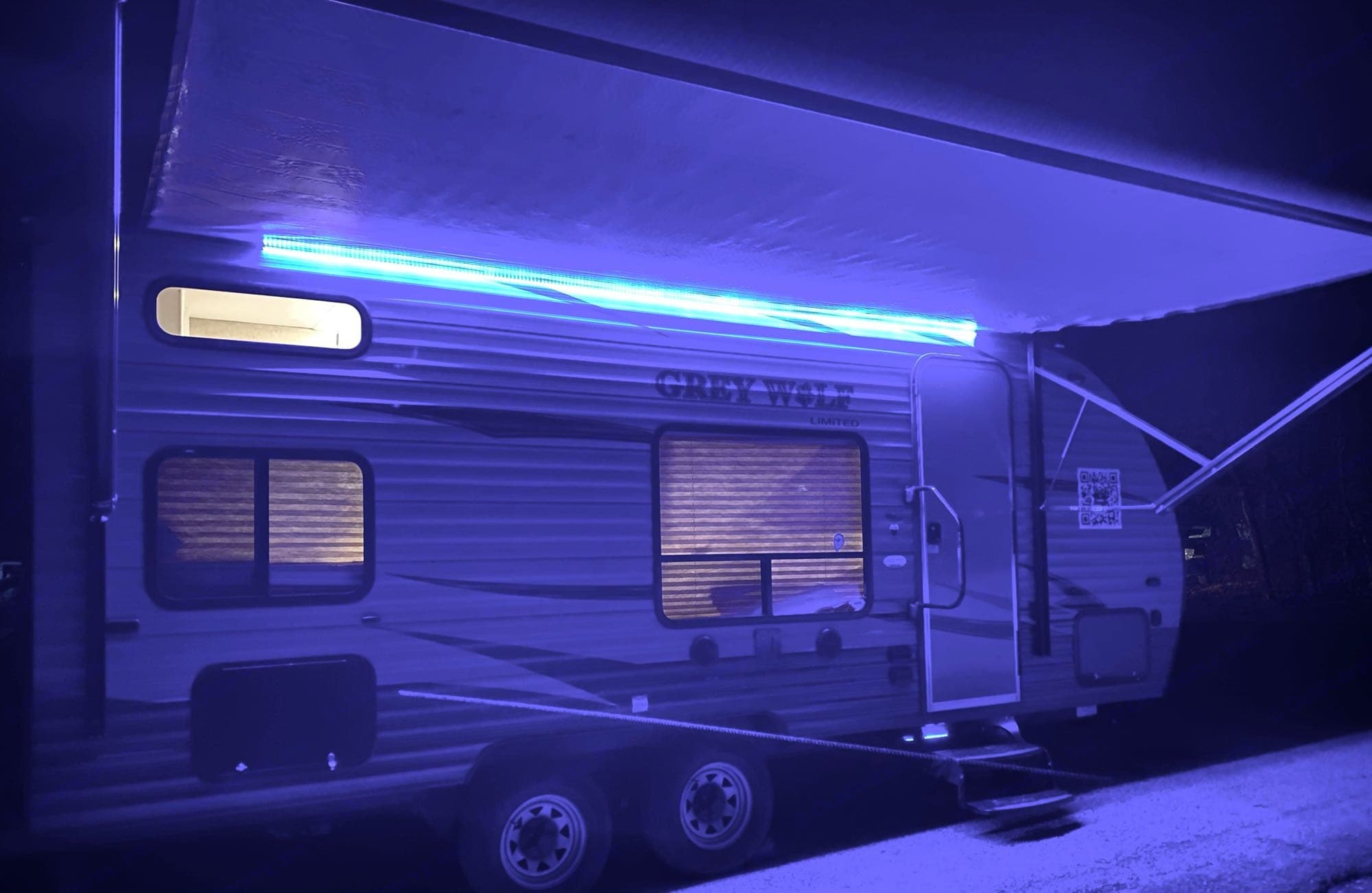 LED lights under the awning. Forest River Cherokee Grey Wolf 2016