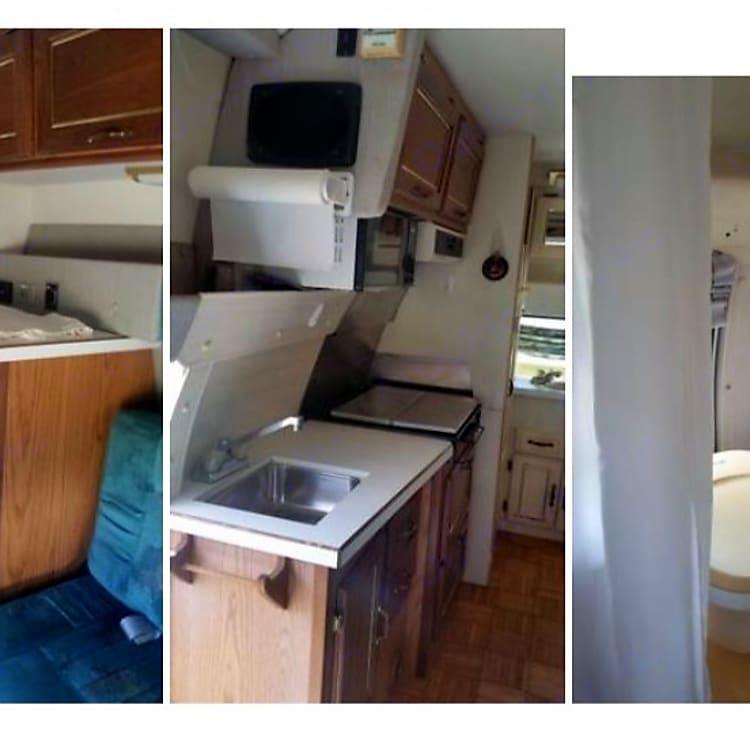 Interior, rear (kitchen, AC/propane refrigerator, microwave, stove, sink, etc.)