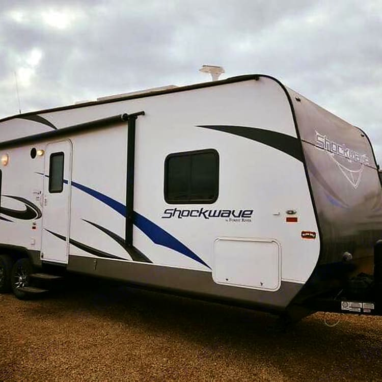 Camper has electrical operated 8x4 owning and one slide out Happy camping