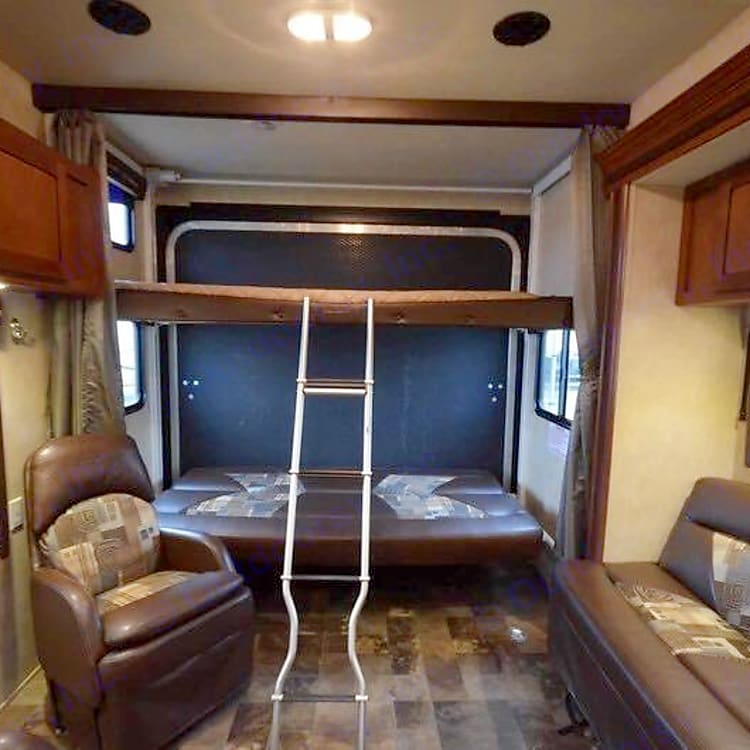 Bunk beds with ladder for top bed