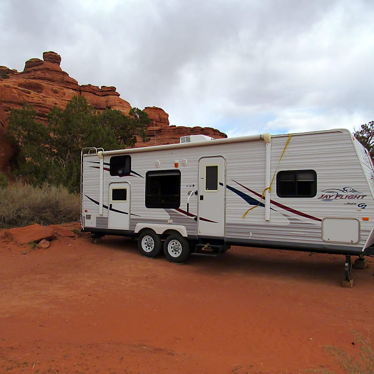 You are not limited to an RV park with our camper because it has solar power to charge the batteries, or you can rent the generator to have use of all electric appliances.