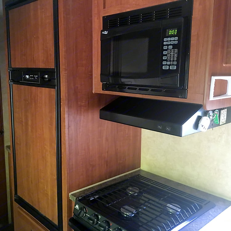 Fridge & freezer can run on propane or electric.  Microwave must have electric hook ups.