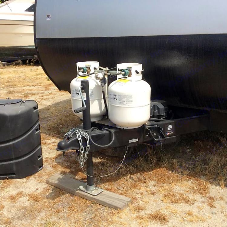 2 large propane tanks.