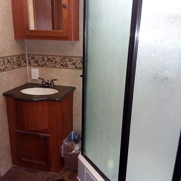 Bathroom sink and walk-in shower.