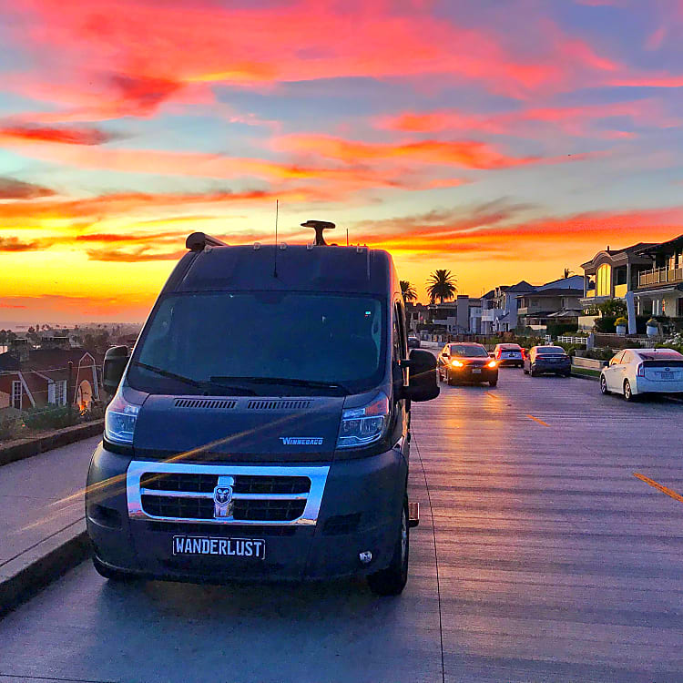 The Wanderlust RV relaxing in an amazing Southern California Sunset.