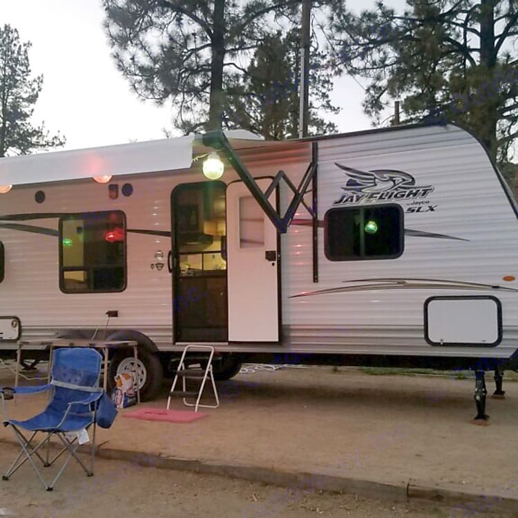 Lake Hemet Campground, in California and decorated for the weekend.