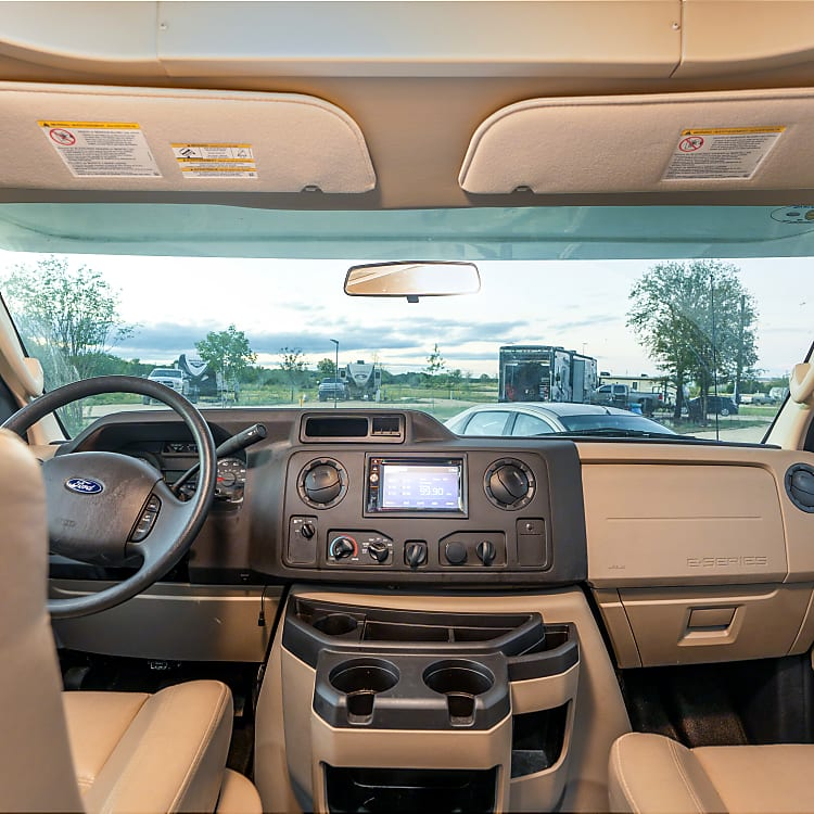 Front cab. GPS, Bluetooth surround sound and back up camera included, along with many other features in the front dash.
