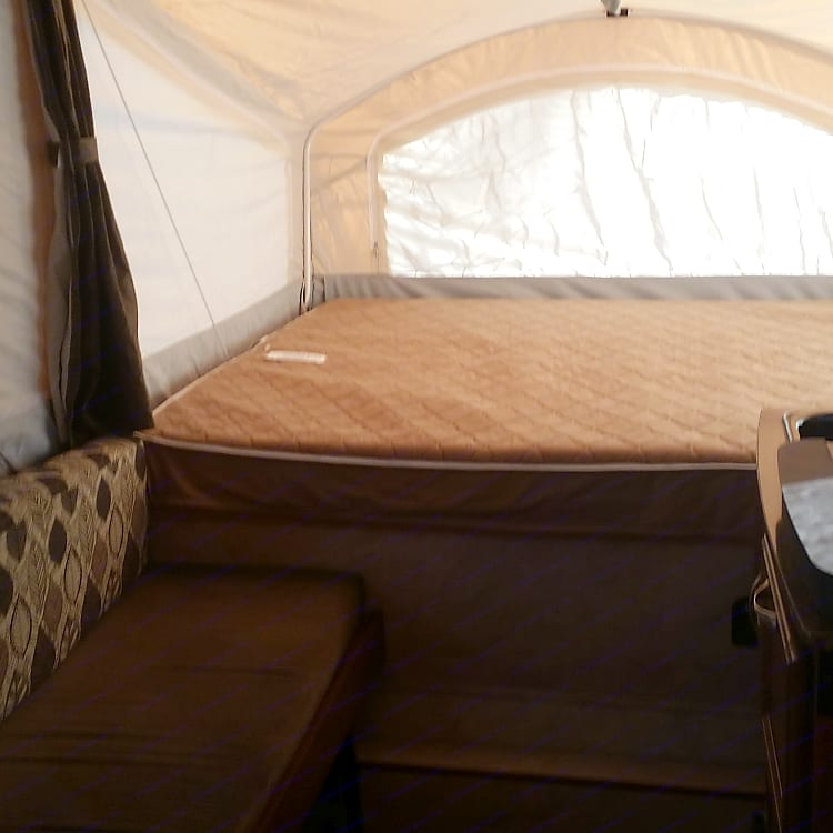One of the really comfortable heated king size beds and a shot of the couch that folds down for another bed