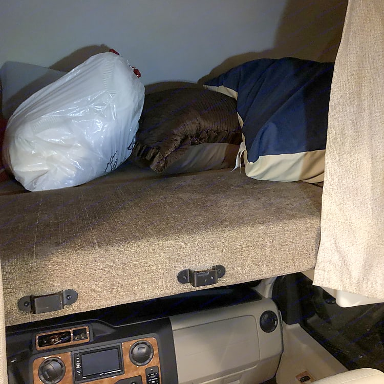 Great over cab storage or sleeping area for 2 kids