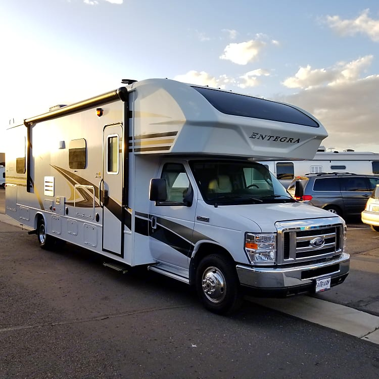 Right side of RV. Awning in.