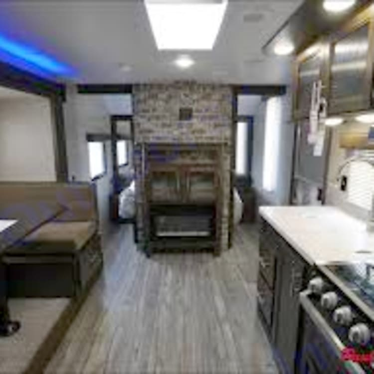 Front of RV - electric fireplace
