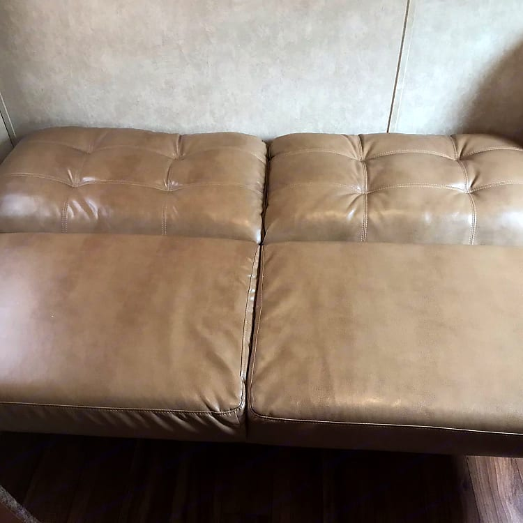 couch pulled out for a bed