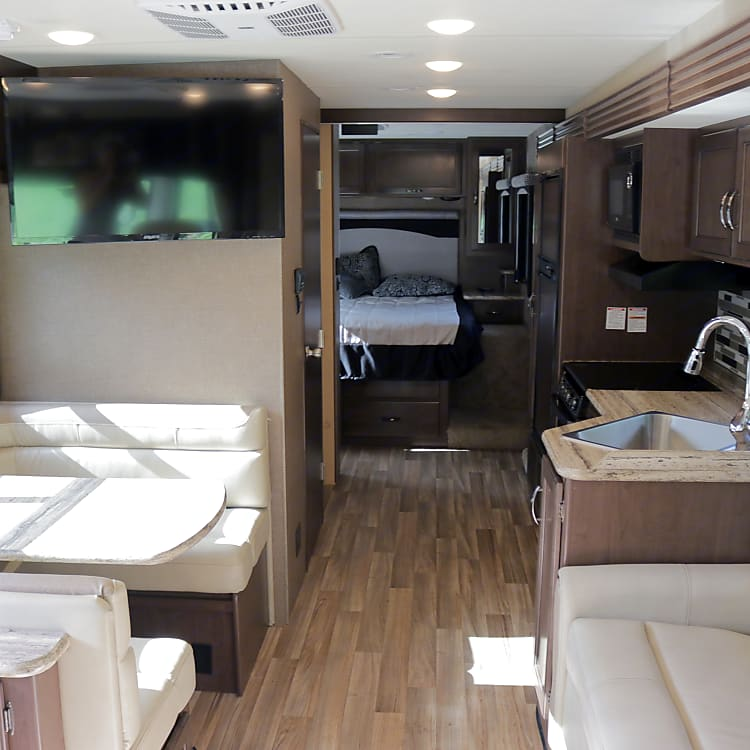 View from the front of the RV to the back