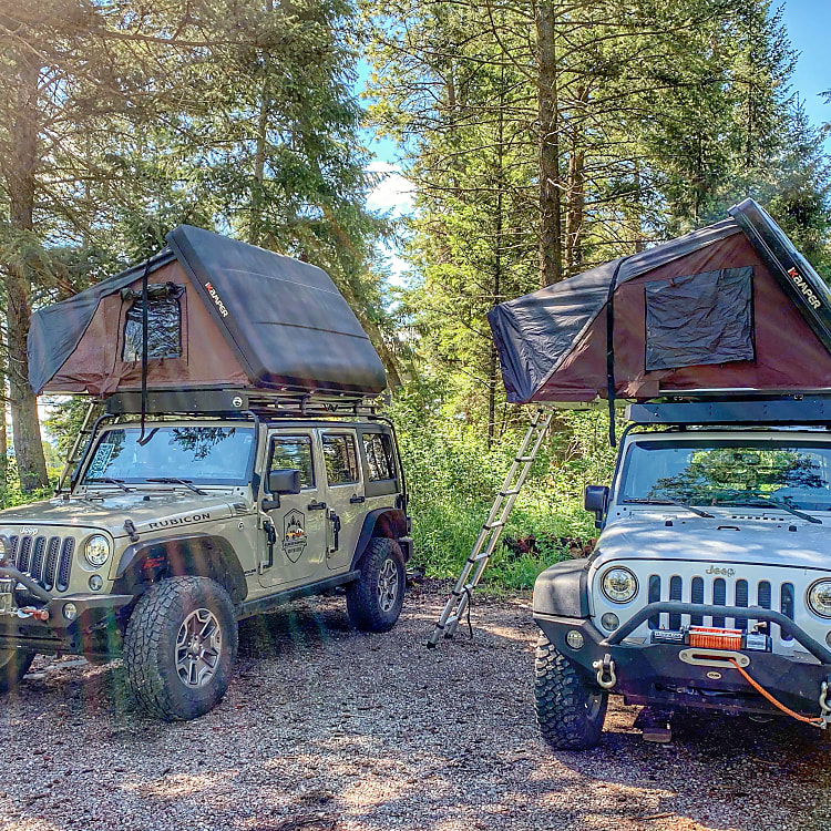 Our Jeep Wranglers are equipped with iKamper Roof Top Tents.