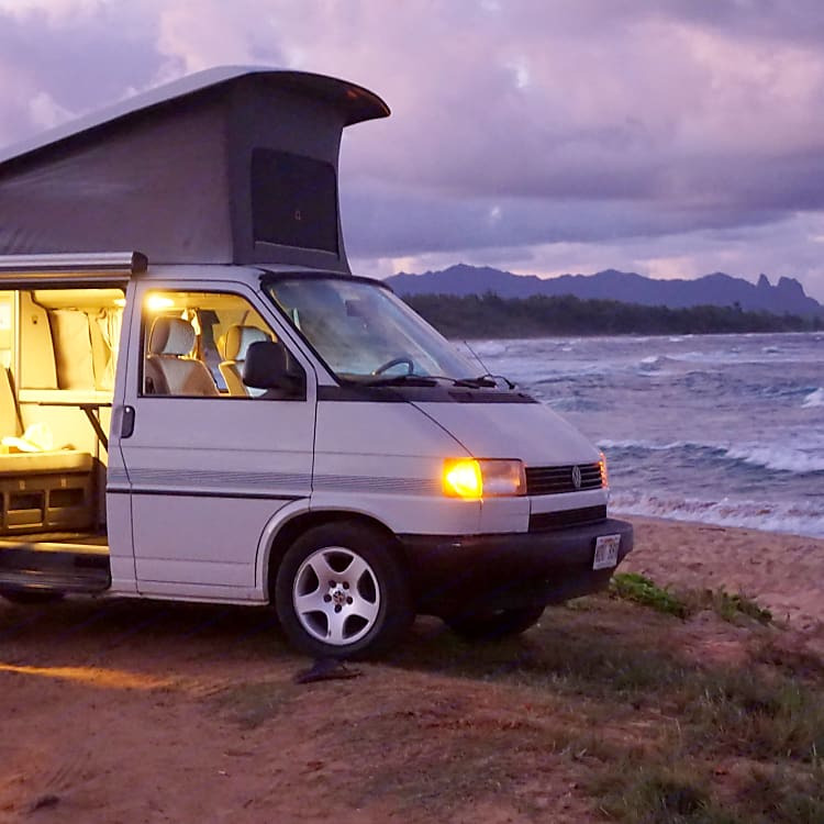 """Parking in the evening on Kauai beach. """"Life is not measured by the number of breaths we take, but by the moments that take our breath away"""""""