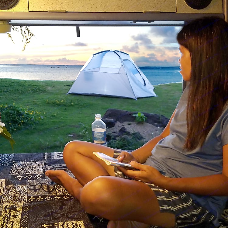 Complimentary tent with the van. If someone wants some privacy.