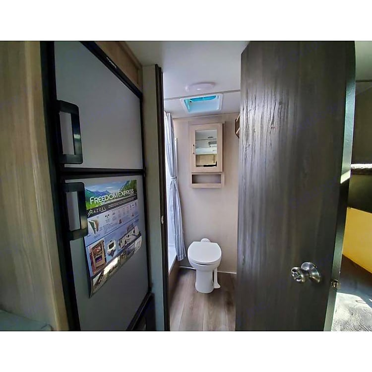 refrigerator, bathroom entry