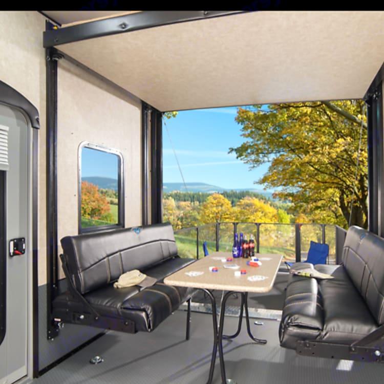 Garage/dining/rear bunk area
