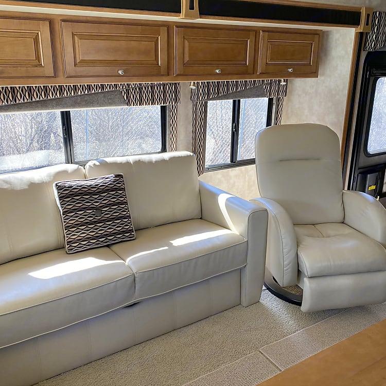 Sofa converts into air-mattress bed