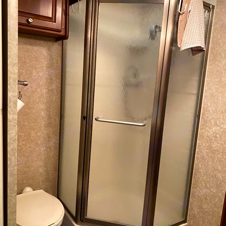 Shower has Electric or Gas hot water (Instant and endless hot water)
