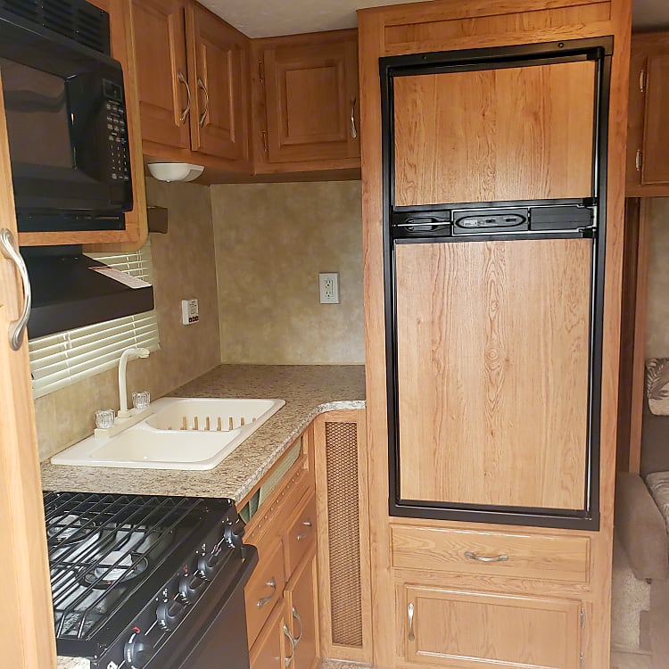 The large fridge and sink