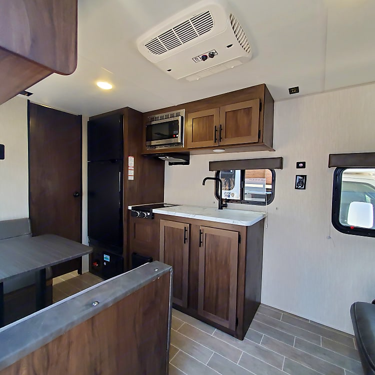 Lots of open space- does not feel cramped like most small trailers and RV's!