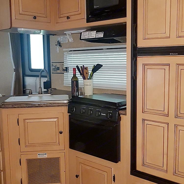 Full stocked kitchen.