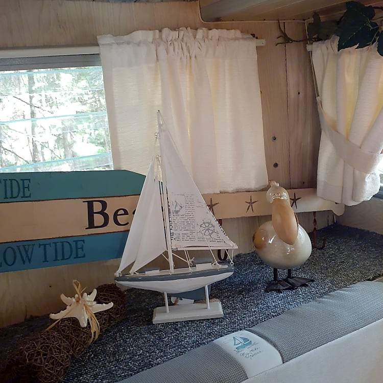Trailer decorated in lake house style.