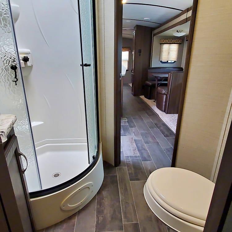 Full size shower in bathroom