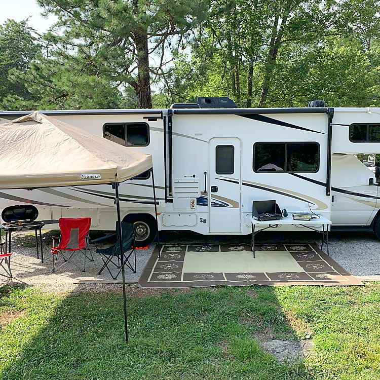 Set up at the campsite.  Rental includes everything in this photo (and more!).