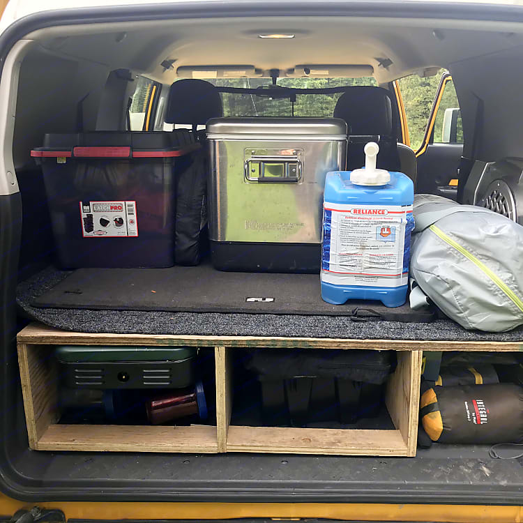 Included camping gear storage solutions