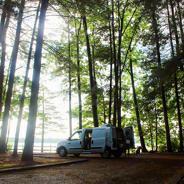 This van quickly transforms to and outdoor kitchen, a queen size bed, and is easy to drive.