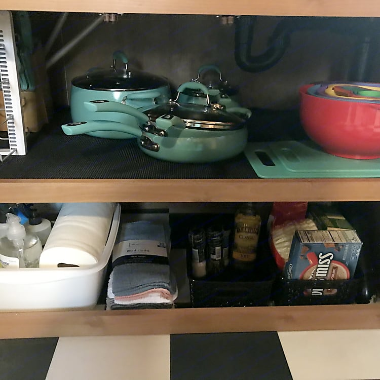 Stocked cooking items and cleaning products (some treats too)