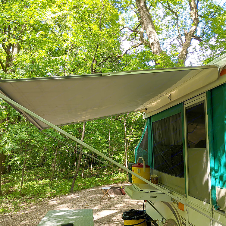 Keep dry under the awning while making breakfast