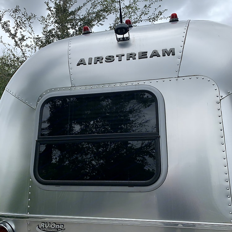 Back of Airstream. Note back up camera mounted on top.