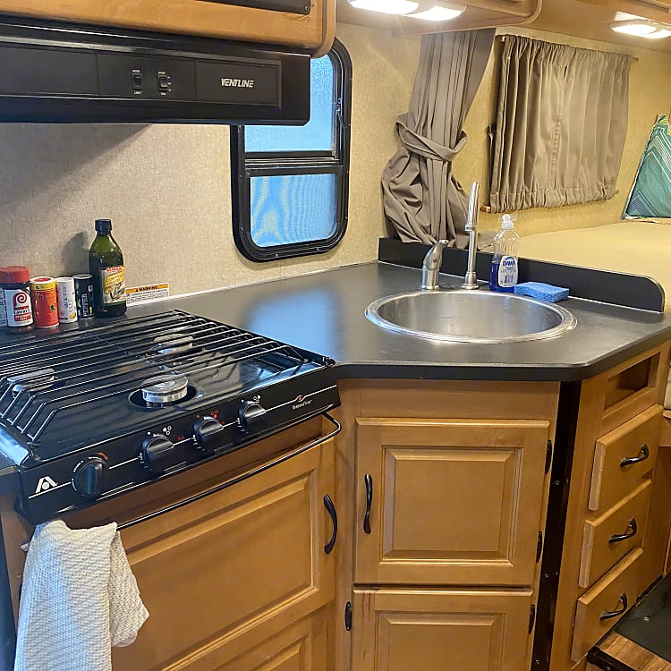 Kitchen stovetop and sink