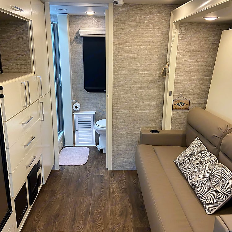 Murphy bed in stored position