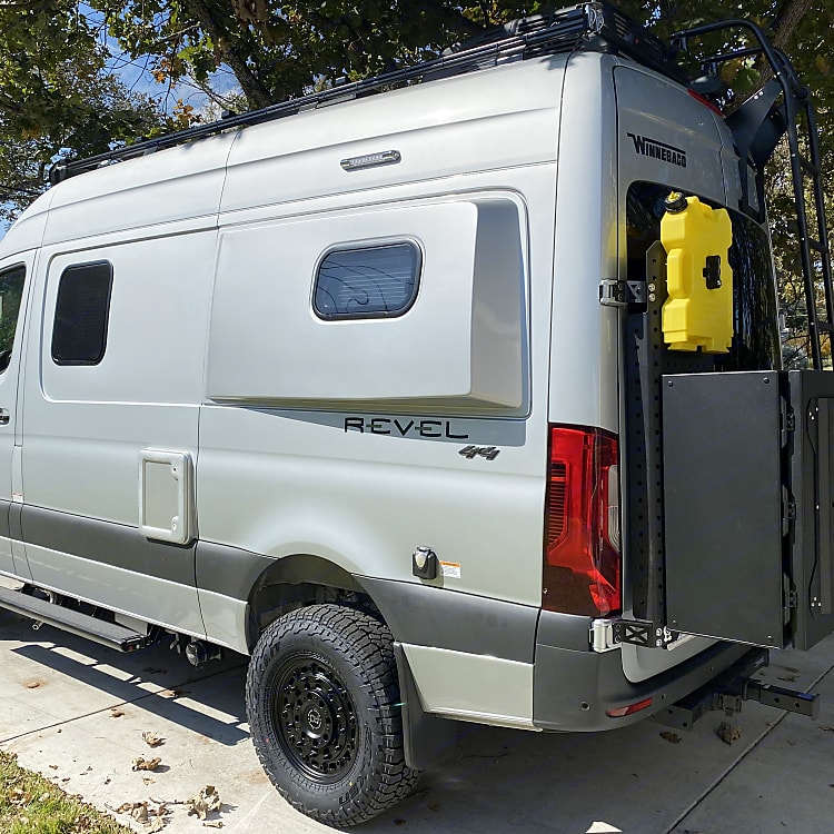 Exterior box keeps all the items to run the rv out of the van so you have more room! Also, diesel gas containers if wanted.