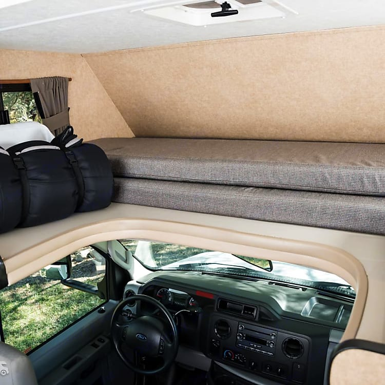 spacious cab over bed