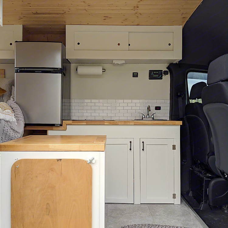 View from the open van door. On the left foreground is the location of the toilet.