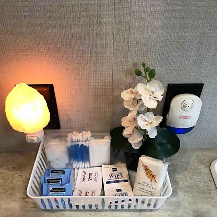 Free Qtips/makeup remover/soap/cottons,etc.