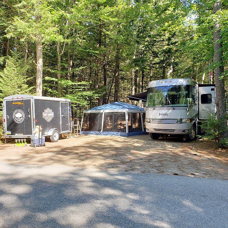 Site set up with Motorcycle trailer
