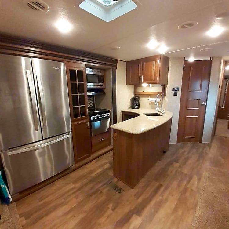 Large kitchen with lots of counter space and coffee pot!