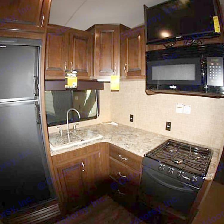 Sink, Stove, Microwave and Fridge