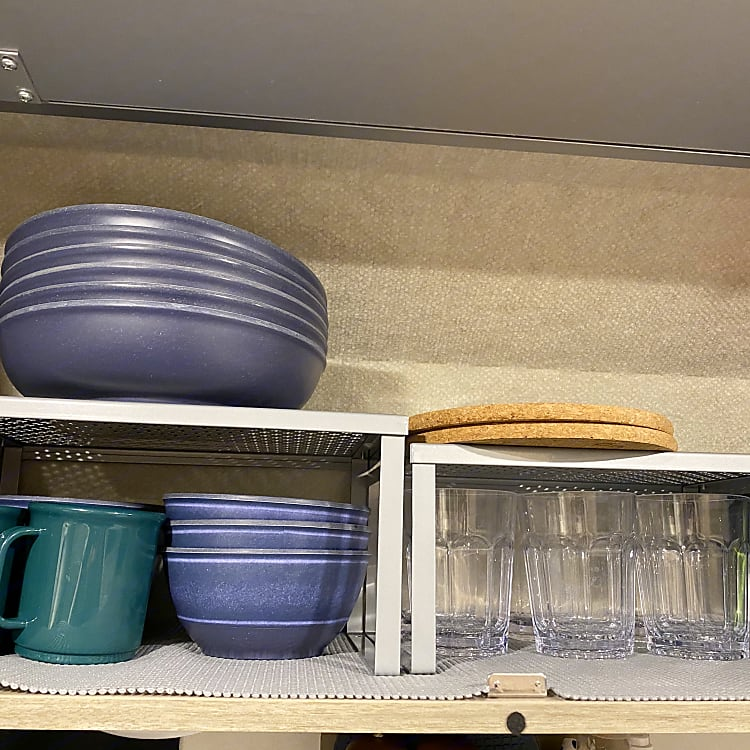The camper van will be stocked with plates, bowls, cups, mugs and utensils for your use.