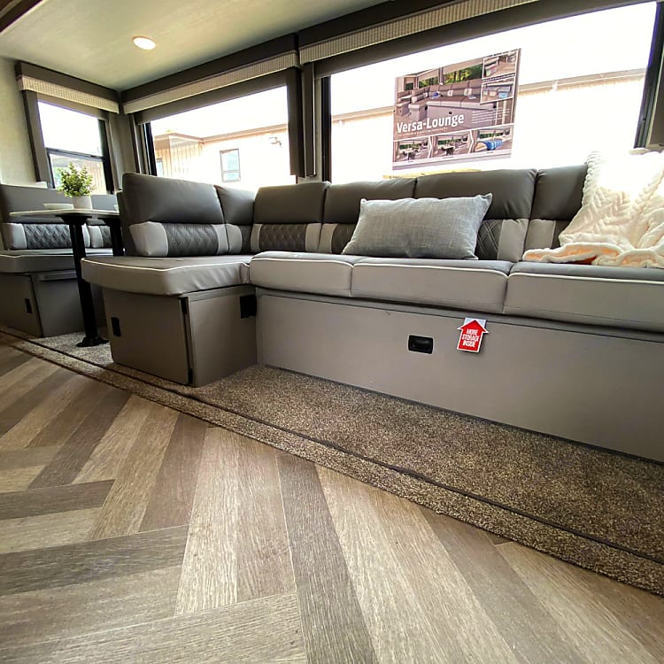 Extra storage under dining and sofa